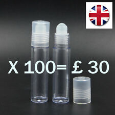 100 X 10ML EMPTY PLASTIC ROLL ON BOTTLE LIQUIDS ESSENTIAL PERFUME OIL REFILABLE