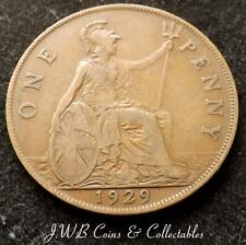 1929 George V One Penny 1d Coin - Great Britain.