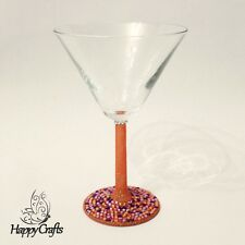 Sparkle Base Glitter Stem Cocktail Glass Orange Purple Pink