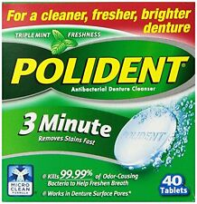 6 Pack - Polident 3 Minute Tablets 40 Tablets Each