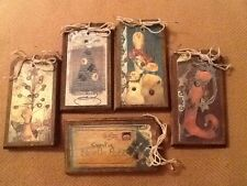 5 Wooden PRIM Christmas Ornaments/Gift Tags/HangTags/ORNIES HandCrafted SET774