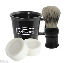 Scalpmaster professional Barber's 4-piece Shaving set, Mug-Brush-2 cake soaps