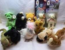 LOT OF 11 TY BEANIE BABIES-PLUSH ANIMAL TOYS-DOGS-BEARS-CAT & MORE