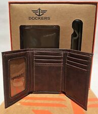 Dockers Men's Brown Trifold Wallet with Bottle Opener Gift Set New In Box