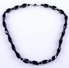 "NATURAL BLACK AGATE ONYX BLOCK GEMS BEADS NECKLACE 18""AAA"