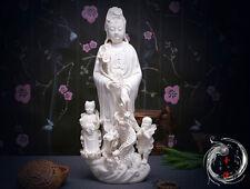 """18""""Chinese Dehua Porcelain Dripping Water Kwan-yin Guanyin Tongzi Dragon Statue"""