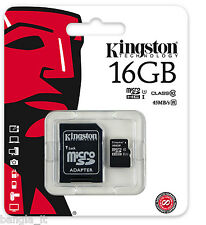 KINGSTON 16GB MICRO SD CARD  UHS I U1 CLASS 10 For MOBILE CAMERA TABLET SAT NAV