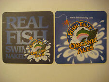 Beer Bar Coaster ~ FISH TALE Ales ~*~ Olympia, WASHINGTON ~ Reel Fish Swim Naked