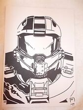A4 Black Ink Marker Pen Sketch Drawing Halo Master Chief