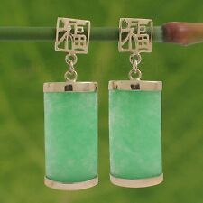 14k Solid Yellow Gold GOOD FORTUNE Dangle Curved Green Jade Oriental Earring TPJ