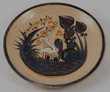 Mexican Plate Vintage Ceramic Pottery Art Hanging Signed Folk Hand Painted 8 1/2