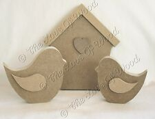 Free standing BIRD HOUSE with BIRDS wooden craft shape MDF 18mm thick