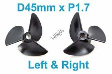 1 Set D45mm 3-Blades Left&Right P1.7 RC Boat Propellers, 4mm Shaft 038-06507-08