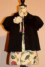 Asos Black Swing Jacket Coat Short Sleeves Cream Lace Flower Corsage UK 10 12