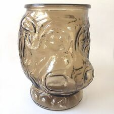 Libbey Glass Hippo Brown Cookie Jar
