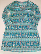 Excellent Auth. CHANEL '05 P Chanel Print Cotton Tunic Beach Cover Up Dress 40