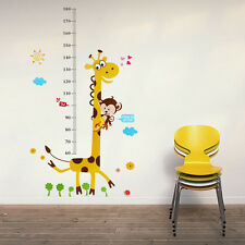Giraffe Monkey Vinyl Wall Decal Stickers Kid Baby Height Chart Measure Removable