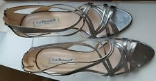 FAB L.K.Bennett silver 100% leather high heels party sandals £225 shoes UK 6/39