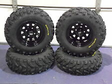 "HONDA RANCHER 350 (SRA) 25"" BEAR CLAW ATV TIRE- ITP BLACK ATV WHEEL KIT COMPLETE"