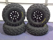 "YAMAHA WOLVERINE 350 25"" BEAR CLAW ATV TIRE- ITP BLACK ATV WHEEL KIT COMPETE"