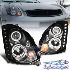 [Dual CCFL Halo]For 2003-2007 Infiniti G35 Black LED Projector Headlights Pair