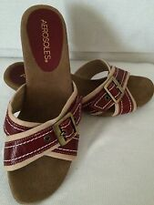 Areosoles Womens Size 6.5 Strappy Red Beige Slip On Buckle Sandals Heels Shoes