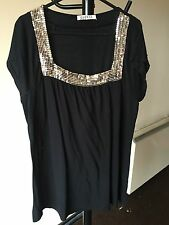 Women Top By George Embellished Gold  Sequin Thigh Length Size 14 (11)