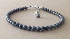 SNOWFLAKE OBSIDIAN+Black HEMATITE Beaded, Silver Plated, Friendship Bracelet
