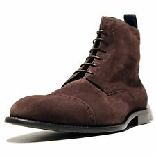 $485 Hugo Boss Brown STOSONIO Ankle Cap Toe Mens Boots 9 42 Casual Suede 9.5 43