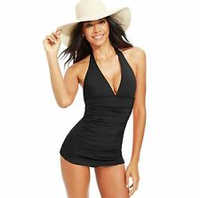 Coco Rave Black Halter Swimdress Swimsuit One Piece Large 36C Cup NWT NEW