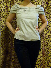 Emporio Armani light grey boat neck  cotton blouse top IT size 38/ UK Size 8