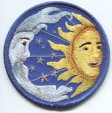 SUN & MOON moon with beard & stars EMBROIDERED PATCH **FREE SHIPPING**