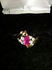 14k Gold Pink Sapphire and 6 accent Diamonds Ring Size 6 - 1.9 g TW