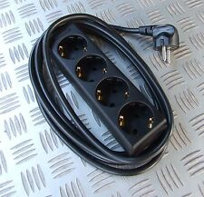 SCHUKO COMPATIBLE MAINS 230V  4 WAY 3 METRE EXTENSION LEAD EUROPEAN CONTINENTAL