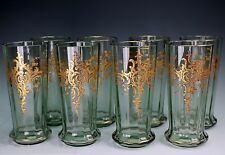 German Bohemian Glass Fritz Heckert Josephinenhutte Smokey Green 8 Tumblers