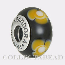 Authentic Pandora Silver Murano Black with Yellow Flowers 790641 *RETIRED*