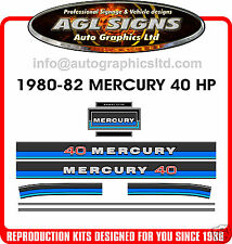 1980 - 1982 MERCURY 40 hp Outboard Decals reproductions stickers