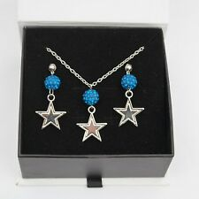 Dallas Cowboys Jewelry Shamballa Bead Crystal Necklace and Earrings Set