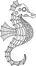 Zendoodles Seahorse ready to go clear craft stamp Zentangle Zentangling sea life
