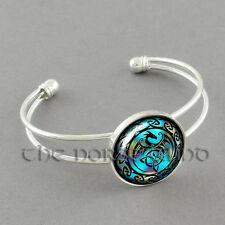 Celtic Dragon Bracelet Viking Trinity Knot Bangle Silver Asatru Gothic