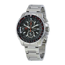 Seiko Flight Computer Chronograph Black Dial Stainless Steel Mens Watch SNAD05