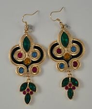 "ETHNIC LOOK 2.75"" GOLD TONE MULTI-COLOUR FLOWER LEAF DROP EARRINGS"