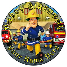 "FIREMAN SAM RUNNING ACTION - 7.5"" PERSONALISED ROUND EDIBLE ICING CAKE TOPPER"