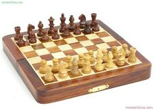 CHESS SET - SMALL 7 INCH MAGNETIC TRAVEL SET w/ FOLDING INLAID WOOD BOARD (420)