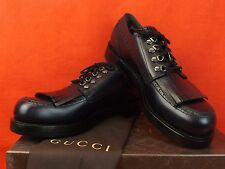 NIB GUCCI NAVY HARRISON GOODYEAR LEATHER FRINGE BROGUE LACE UP OXFORDS 10 1