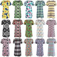 NEW WOMENS LADIES NEON CELEB AZTEC PATTERN PRINT SHIFT TUNIC DRESS MINI SKIRT