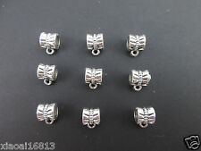 20x Tibetan Silver Dangle Big Hole Spacer Beads Bails Connectors Jewelry Charms