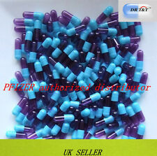 100 Gelatine gelatin transparent purple/blue capsules size 1 size1 EU products