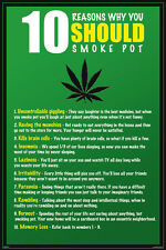 10 reason to smoke pot poster Ganja Light up Man cave Munchies Never Hung New!