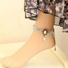 Gothic Flower Lace Chiffon Bead Drop Ankle Anklet Barefoot Sandal Foot Jewerly